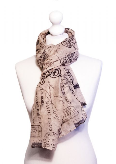 Believe -  Large Silky Touch Paris inspired Print Scarf  (Light Brown/Black)